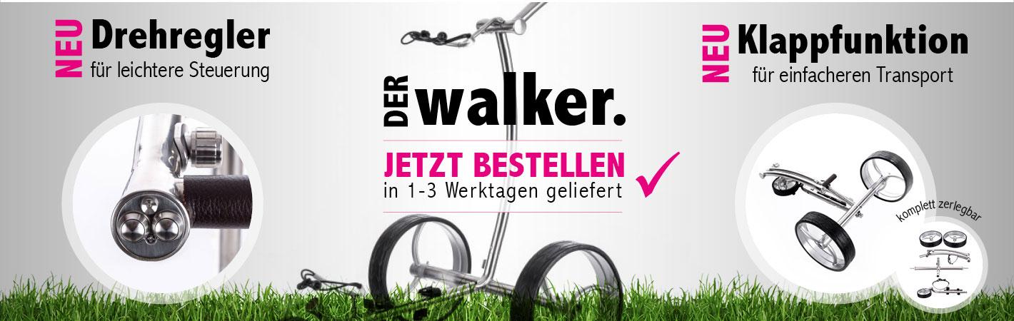 Elektro Golf Trolley Walker Edelstahl poliert