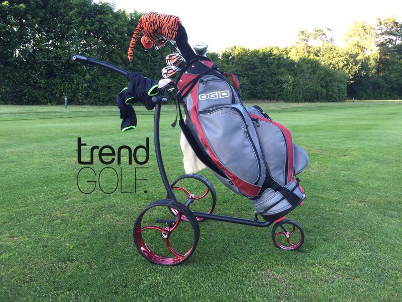 Push Golf Trolley cushy Edelstahl Pulverbeschichtet schwarz